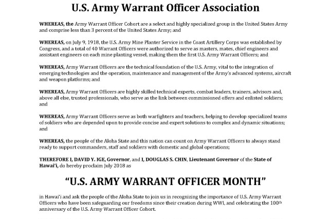 Proclamation presented to the U.S. Army Warrant Officer Association