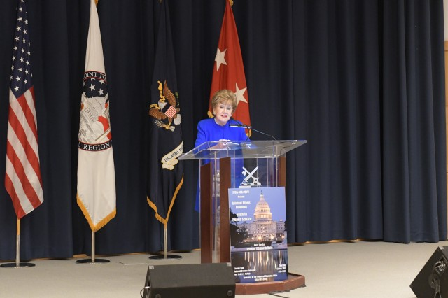 Senator Elizabeth Dole speaks to more than 120 members of the Joint Force Headquarters-National Capital Region/U.S. Army Military District of Washington staff during the Quarterly Spiritual Fitness Luncheon held in Lincoln Hall at the National Defense University. Dole spoke about her faith and public service. (U.S. Army photo by Cory Hancock, JFHQ-NCR/MDW Public Affairs)