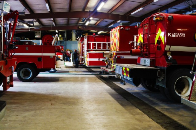 Gatesville Fire Department, Gatesville, Texas, bay of various vehicles, July 4, 2018. They GPD has vehicles ranging from traditional fire trucks, brush trucks, water tanks, and boats. (U.S. Army photo by Sgt. Melissa N. Lessard)