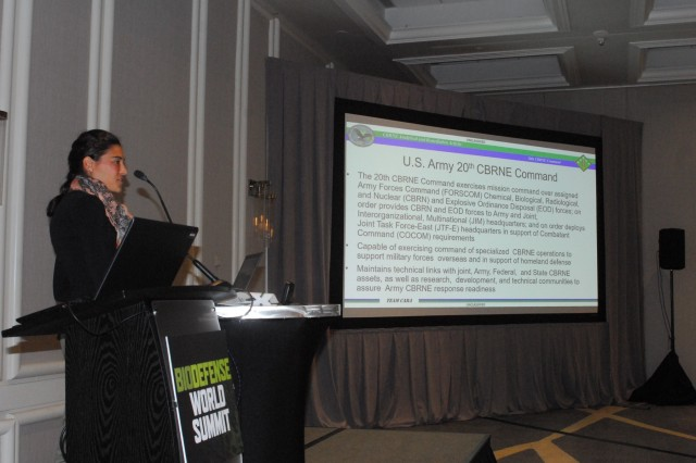 Rebecca Lewandowski briefs the CARA mission at the 2018 Biodefense World Summit