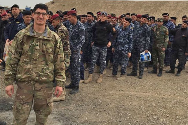 Army Sgt. Kyle Nusbaum was teaching combat lifesaving skills to a class of Iraqi Federal Police recruits when their classroom skills actually enabled them to save lives following a local gas tank explosion.