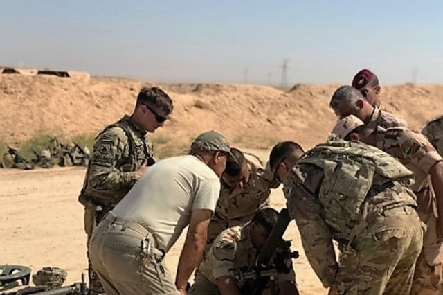 "Troopers from 3rd Squadron ""Thunder"", 3d Cav. Regt., instructed 60mm mortar training with soldiers from three different brigades in the 8th Iraqi Army June 26-27, 2018, while deployed to Iraq. Brave Rifles Troopers are deployed in support of Combined Joint Task Force - Operation Inherent Resolve, working by, with and through the Iraqi Security Forces and coalition partners to defeat ISIS in Iraq and Syria."