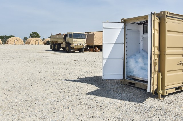 The Containerized Ice Making System, or CIMS, was developed by the Product Manager -- Force Sustainment Systems, and can successfully generate and bag 3,600 pounds of potable ice per day and keep 1,200 pounds in cold storage for future use.  The CIMS' capacity to produce on-demand ice meets the field feeding, medical, and mortuary affairs needs of Soldiers fighting down range. Two third generation prototype CIMS units were brought in to support the XVIII Airborne Corps' 3rd Expeditionary Support Command during a training exercise held at Fort Brag in April 2018.