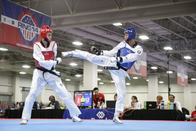 Pfc. David Kim won first place in the men's fin-weight class. Kim is a member of WCAP and has been practicing taekwondo since he was 8years old.