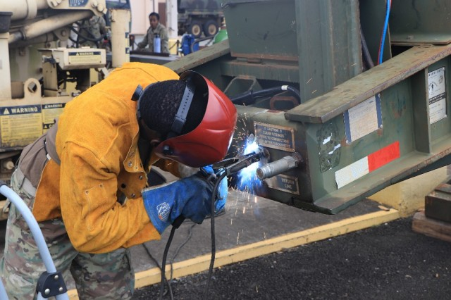 """I love what I do. The biggest takeaway for welders in the Army is that a lot of Leaders don't realize our vast capabilities. Instead of ordering parts with long delivery times, I can make some of those parts easily. It's definitely an art.""-SGT Darrell Singleton of Forward Support Company, 84th Engineer Battalion on what it's like to be an allied trade specialist in 8th Theater Sustainment Command."