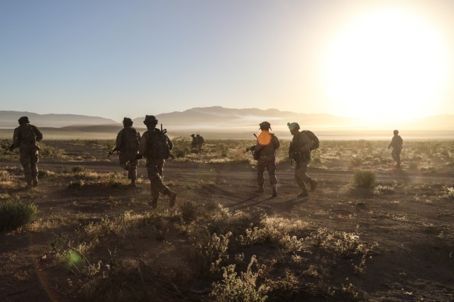 Troopers of Assassin Troop, 1st Squadron, 11th Armored Cavalry Regiment, advance on an objective held by elements of the 2nd Armored Brigade Combat Team, 1st Infantry Division, near the village of Nur in the National Training Center, May 4, 2017. Army researchers have suggested that uncertainty may be key in battlefield decision making.