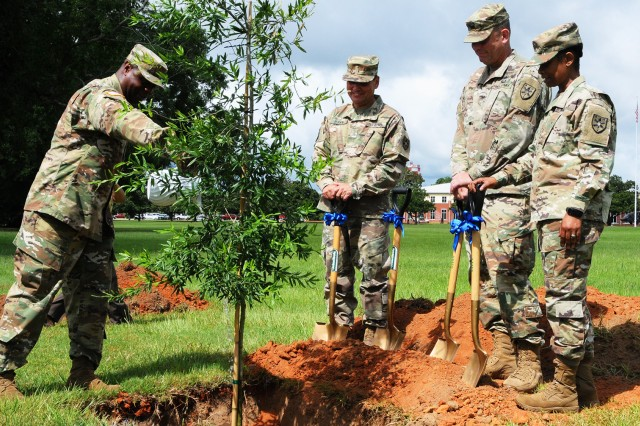 CW5 John Howze, U.S. Army Warrant Officer Career College deputy commandant, waters the tree planted at the ceremony honoring the Army Warrant Officer Cohort's 100th birthday July 9 at Howze Field as CW5 John Ryan, deputy commandant of the Army Reserve WOCC, Col. Kelly E. Hines, WOCC commandant, and CW5 Debbie Sharpe, deputy commandant of the Army National Guard WOCC, look on.