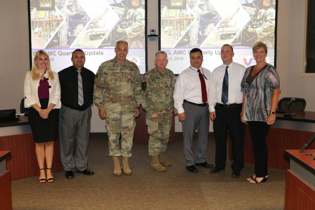 Five AMCOM employees were honored by Gen. Gus Perna for their successful work in enabling Army readiness and supply availability, on July 3. From left to right: April Whisenant (PEO Aviation), Frank Villanueva (AMCOM Logistics Center), Gen. Gus Perna (AMC Commander), Maj. Gen. Doug Gabram (AMCOM Commander), Marco Muniz (AMCOM Logistics Center), Seth Cole (PEO Missiles and Space), and Tanya Allbritten (AMCOM G-1).