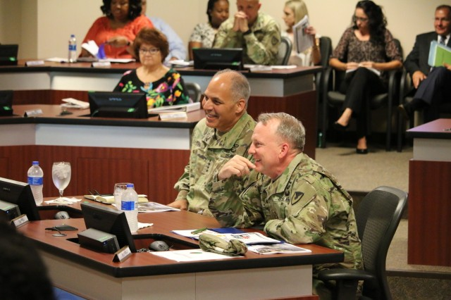 Commander of the Army Materiel Command, Gen. Gus Perna, participated in the seventh AMCOM Quarterly Update briefing since taking command to take the pulse of aviation and missile supply chain health.