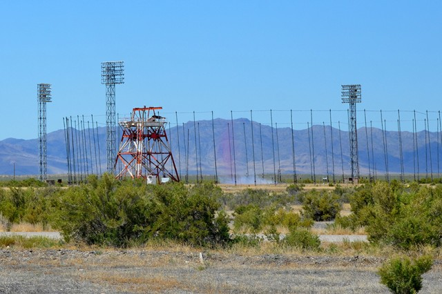 A small simulated field test took place July 3, 2018 at the outdoor Tower Grid at US. Army Dugway Proving Ground, Utah. Outdoor grids monitor open-air tests of simulated agents to record a number of different readings as a cloud of compounds travels over the grid. The test was part of a STEM outreach program sponsored by the University of Utah for students interested in pursuing a career in chemistry. Photo by Bonnie A. Robinson, Dugway Public Affairs