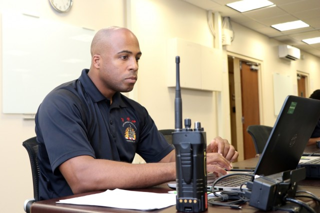 Army Staff Sgt. Rayshod Thompson, administrative noncommissioned officer, 33rd Civil Support Team, District of Columbia National Guard, mans a workstation on July 17, 2018, in the CST joint operations center in the D.C. Armory, in Washington, D.C. A part of Thompson's responsibilities were to maintain real time information of all surveying members of the CST stationed throughout D.C. during the 2018 MLB All-Star Game.