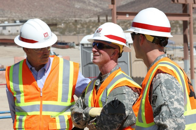 Col. Kirk Gibbs, commander of the Los Angeles District, visits several District project sites during a Sept. 9 to 10, 2015, visit to the National Training Center at Fort Irwin, California.