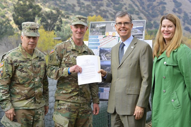 From left to right, Lt. Gen. Todd Semonite, commanding general of U.S. Army Corps of Engineers; Col. Kirk Gibbs, commander of the U.S. Army Corps of Engineers Los Angeles District; Gary Lee Moore, Los Angeles city engineer; and Carol Armstrong, executive officer to the Los Angeles Deputy Mayor of City Services, pose for a picture Jan. 19 after Corps of Engineers leaders presented a signed design agreement with the city to move forward with the Los Angeles River Ecosystem Restoration project. The design agreement allows the Corps' Los Angeles District to begin the preconstruction, engineering and design phase of the project.