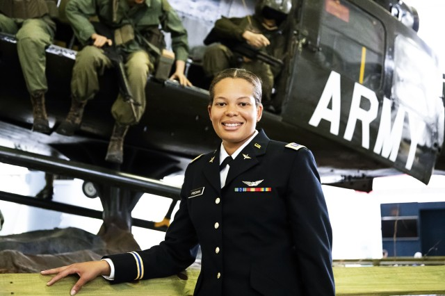 2nd Lt. Kayla Freeman, the first black female pilot in the Alabama National Guard, stands at the U.S. Army Aviation Center of Excellence, Fort Rucker, Ala., June 21, 2018, after her graduation from the aviation school.