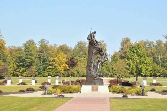 The Mountaineers Monument at Memorial Park is located in front of the 10th Mountain Division (LI) headquarters at Fort Drum, New York. Runners who sign up for the first Memorial to Monument Run, set for Sept. 29, will gather there to start the 11-mile run to Thompson Park in Watertown, New York. The event is hosted by Fort Drum's Family and Morale, Welfare and Recreation in a partnership with the Watertown Parks and Recreation Department. (Photo by Mike Strasser, Fort Drum Garrison Public Affairs)