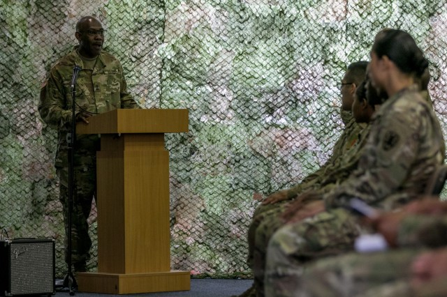 Sgt. Maj. Keith E. Green, a senior enlisted logistics sergeant major assigned to 1st Infantry Division, Fort Riley, Kansas, speaks to the newly inducted noncommissioned officers (NCOs) during an induction ceremony held May 11, 2018 in Poznan, Poland. The NCO induction ceremony is a celebration of the newly promoted joining the ranks of a professional noncommissioned officer corps and emphasizes and builds on the pride shared as members of such an elite corps. (U.S. Army photo by Spc. Dustin D. Biven / 22nd Mobile Public Affairs Detachment)
