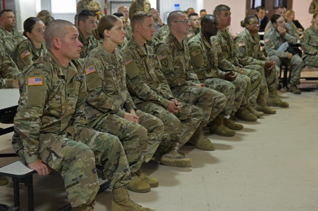 Soldiers with the 38th Infantry Division, listen to Secretary of the Army, Mark T. Esper, at Camp Atterbury, Indiana, Friday, July 20. Esper visited the division Soldiers during their two-week annual training exercise to educate and answer questions.
