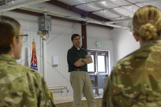 Secretary of the Army Mark T. Esper, visits soldiers with the 38th Infantry Division at Camp Atterbury, Indiana, Friday, July 20. Esper highlighted the importance of combat fitness, stating that fitness prepares Soldiers' readiness to fight against possible enemies.