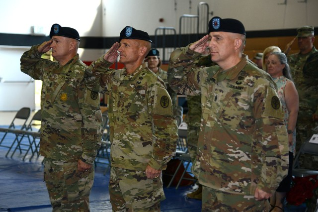 Regional Health Command Europe welcomed its new senior enlisted advisor, Command Sgt. Maj. Todd Garner, during a change of responsibility ceremony Monday, July 23 at Sembach Kaserne. Garner accepted responsibility from Command Sgt. Maj. Joseph Cecil for all Army Medicine enlisted Soldiers in Europe.