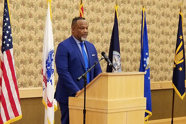 Maurice Turner, logistics specialist with the Integrated Logistics Support Center Materiel Fielding and Training Directorate, serves as the Master of Ceremonies for his Defense Civilian Emerging Leader Development Program class graduation at the Department of Defense Executive Management Training Center June 15, 2018 in Southbridge, Mass.