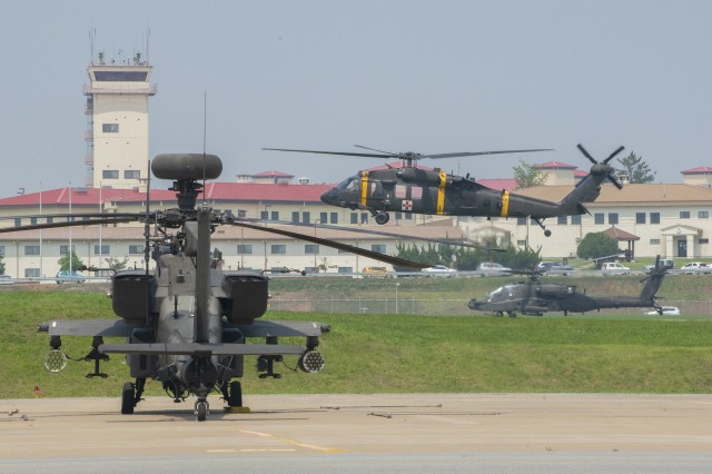 Camp Humphreys in South Korea has a bustling airfield that includes helicopters from the 2nd Combat Aviation Brigade. Many organizations have recently moved to the installation as part of a $10.7 billion effort to consolidate American forces there.