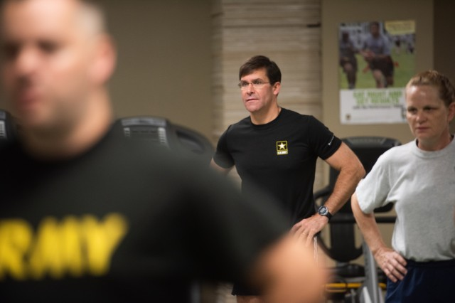 Secretary of the Army Dr. Mark T. Esper conducts circuit training with the LifeFit class at Camp Atterbury, Ind. on July 20, 2018.Esper's visit to Indiana was part of a larger tour that included a town hall meeting with 38th Infantry Division soldiers at annual training and visits to Muscatatuck Urban Training Center, Cybertropolis and the Muscatatuck Cyber Academy.