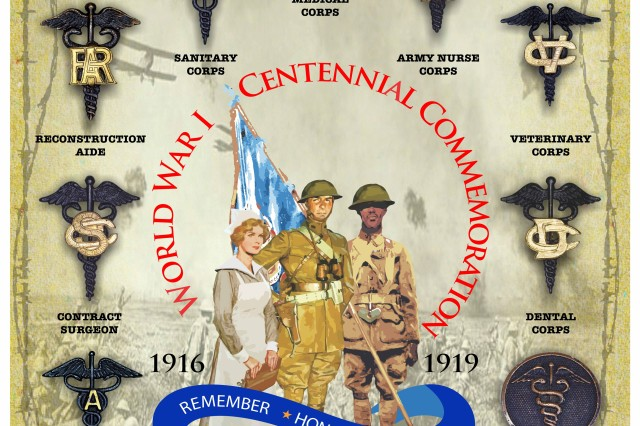 Two AMEDD Soldiers view one of the posters featuring examples of Army Medical Department Insignia worn during World War I. All of the AMEDD Corps are featured in the poster series.