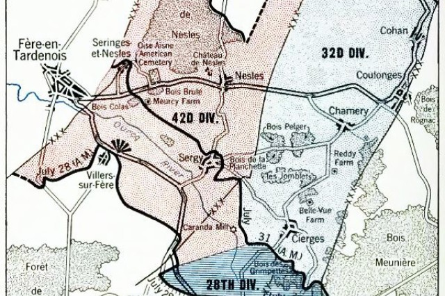 A graphical depiction of the Aisne Marne offensive of U.S. Army National Guard's 42nd Division near Chateau Thierry, France. The 42nd Division seized Croix Rouge Farm and crossed Ourcq River July 29th, aided by two battalions from the 4th Division. They captured Sergy, Meurcy Farm and Seringes-et-Nesles, advancing on the 30th to Foret de Nesles and beyond Sergy.