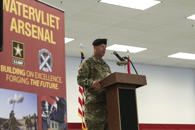 Col. Joseph Morrow delivers his address during the relinquishment of command ceremony at the Watervliet Arsenal on July 24, 2018.