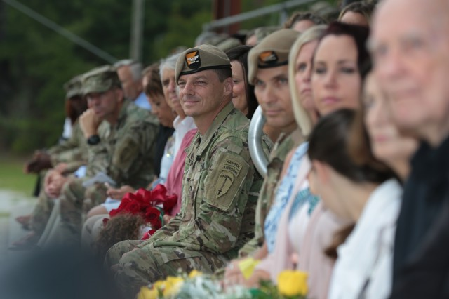FORT BENNING, Ga. (July 24, 2018) - Col. Douglas G. Vincent, outgoing commander of the Airborne and Ranger Training Brigade, leans forward during the ARTB change of command ceremony. The ARTB held the change of command July 24 at Victory Pond at Fort Benning, Georgia, welcoming Col. Michael A. Scarpulla to command and bidding farewell to Vincent. (U.S. Army photo by Markeith Horace, Maneuver Center of Excellence, Fort Benning Public Affairs)