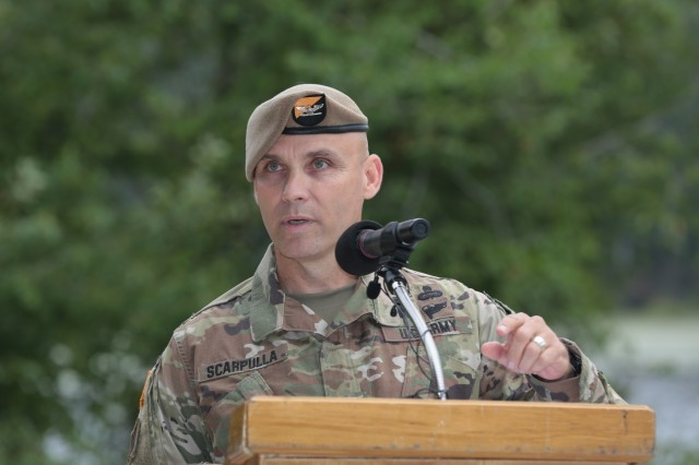 FORT BENNING, Ga. (July 24, 2018) - Col. Michael A. Scarpulla, incoming commander of the Airborne and Ranger Training Battalion, delivers remarks. ARTB held a change of command July 24 at Victory Pond at Fort Benning, Georgia. The ARTB welcomed Scarpulla to command and bid farewell to Col. Douglas G. Vincent. (U.S. Army photo by Markeith Horace, Maneuver Center of Excellence, Fort Benning Public Affairs)