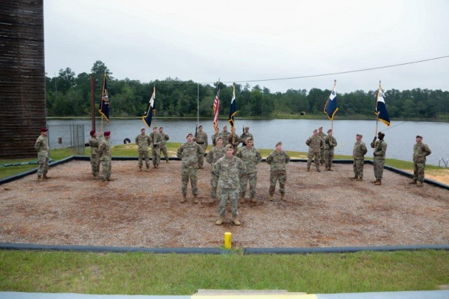 FORT BENNING, Ga. (July 24, 2018) - The Airborne and Ranger Training Brigade held a change of command July 24 at Victory Pond at Fort Benning, Georgia. The ARTB welcomed Col. Michael A. Scarpulla to command and bid farewell to Col. Douglas G. Vincent during the ceremony. (U.S. Army photo by Markeith Horace, Maneuver Center of Excellence, Fort Benning Public Affairs)