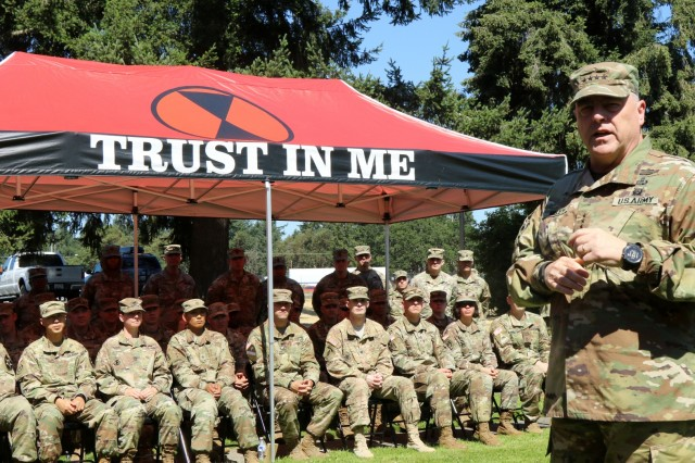 Gen. Mark Milley, Army Chief of Staff, speaks to a group of 7th Infantry Division Soldiers about what it means to serve prior to a reenlistment ceremony during his visit to Joint Base Lewis-McChord, Wash., July 23, 2018. (U.S. Army photo by Staff Sgt. Michael Armstrong, 7th Infantry Division)