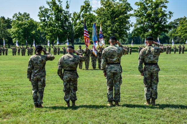 Salute the flag during USAREC Change of Command/Responsibility Ceremony