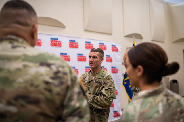 Sgt. Maj. of the Army speaks with Soldiers during a town hall meeting at the Indiana National Guard Headquarters in Indianapolis, Ind. on July 25, 2018.