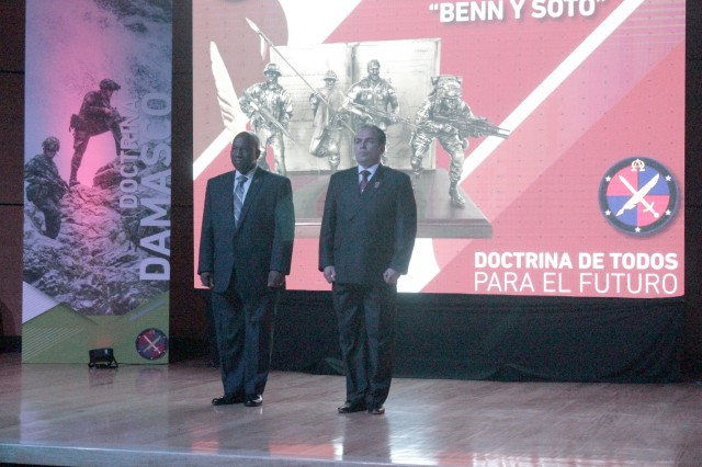 Senior military leaders from Colombia and Maj. Gen. Mark R. Stammer, U.S. Army South Commander, presented the first annual Benn and Soto Award for excellence in doctrine development June 6, 2018, in Bogota, Colombia.