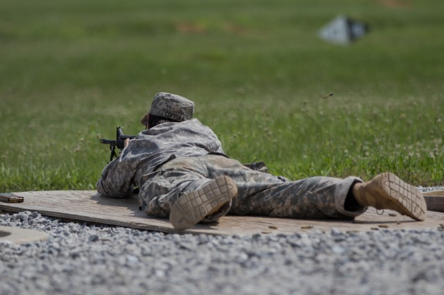 Cadet searches range for pop-up targets, July 1, 2018 at Fort Knox, KY.