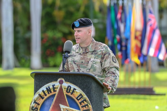 U.S. Army Brig. Gen. Michael Morrissey, the new commander of the 94th Army Air and Missile Defense Command, addresses attendees of his change of command after assuming command, at the change of command ceremony, July 26, 2018, historic Palm Circle lawn at Fort Shafter, Hawaii.