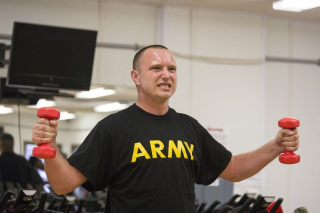 Sgt. Richard Hutton, a student with the New Jersey National Guard SWEAT Program, takes part in a workout at Joint Base McGuire-Dix-Lakehurst on July 24, 2018. SWEAT stands for Soldier Wellness Education and Training and is designed to help Soldiers whose careers have been set back -- or will end prematurely -- unless they improve their physical fitness.