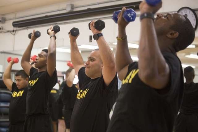 Soldiers enrolled the New Jersey National Guard SWEAT Program, take part in a workout at Joint Base McGuire-Dix-Lakehurst on July 24. SWEAT stands for Soldier Wellness Education and Training and is designed to help Soldiers whose careers have been set back -- or will end prematurely -- unless they improve their physical fitness.