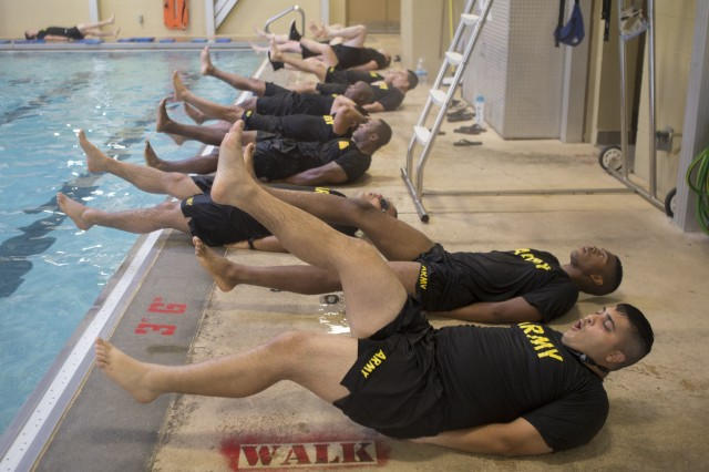 Soldiers enrolled the New Jersey National Guard SWEAT Program, take part in a pool workout at Joint Base McGuire-Dix-Lakehurst on July 24. SWEAT stands for Soldier Wellness Education and Training and is designed to help Soldiers whose careers have been set back -- or will end prematurely -- unless they improve their physical fitness.