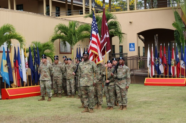 Soldiers from the U.S. Army Health Clinic- Schofield Barracks Medical Company stand in formation during the unit's change of responsibility ceremony July 26. The change of responsbility from Sgt. Maj Joel Thomas to Sgt. Maj. Dedraf Blash took place on the USAHC-SB campus with Soldiers and staff from the Schofield Barracks community in attendance.