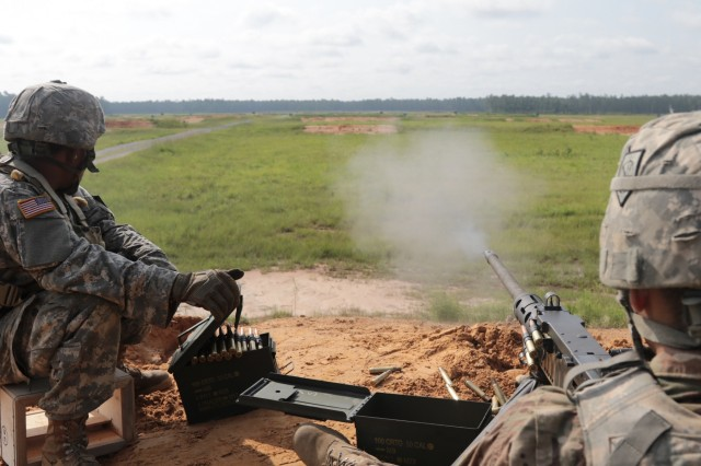 Georgia Army National Guardsmen from the Augusta based Alpha Company, 878th Engineer Battalion, engage targets during M2A2 .50 caliber machine gun qualification on July 18, 2018, at Fort Stewart.  More than 1100 Soldiers from across the state are conducting annual training focused on Soldier individual and collective tasks.Army National Guard photo by Staff Sgt. R.J. Lannom Jr