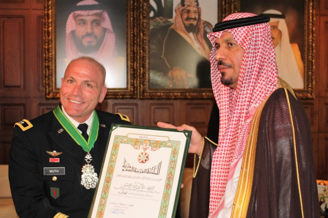 Maj. Gen. Muth receives the King Abdul Aziz Medal, First Order, from His Highness Prince Khalid bin Abdul Aziz bin Ayyaf Al Megren, Minister of the National Guard.