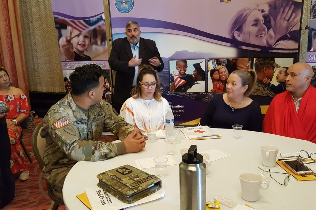 From left to right, Sgt. José Juan Colón, his wife Melody Rivera, his mother-in-law Lily Rivera and his father-in-law José Rivera, participate of the U.S. Army Reserve-Puerto Rico Yellow Ribbon event that took place in San Juan, Puerto Rico, 28-30 July, 2018. Yellow Ribbon events are held when Soldiers are mobilizing, allowing the families to prepare for the time they will be separated and to provide many resources to help with before, during, and after the mission.