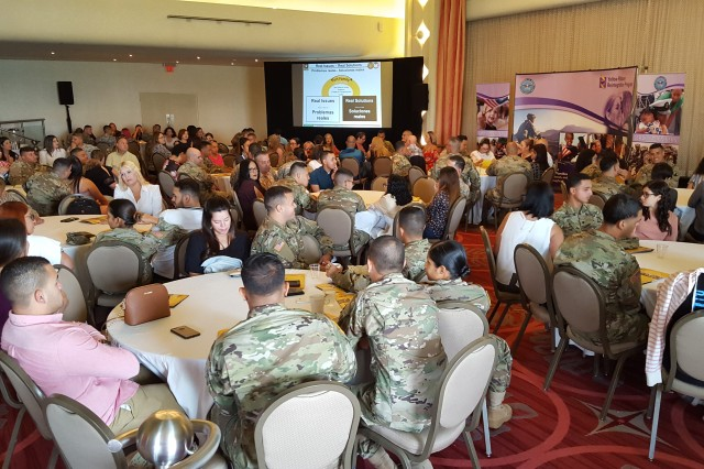 Approximately 100 family members and Soldiers of the 273rd Transportation Detachment and the 266th Ordnance Company, 1st Mission Support Command, U.S. Army Reserve-Puerto Rico, participated in a Yellow Ribbon event, July 28-30, 2018 in Condado, Puerto Rico, as part of the command's effort to sustain family readiness, in preparation for upcoming mobilizations.