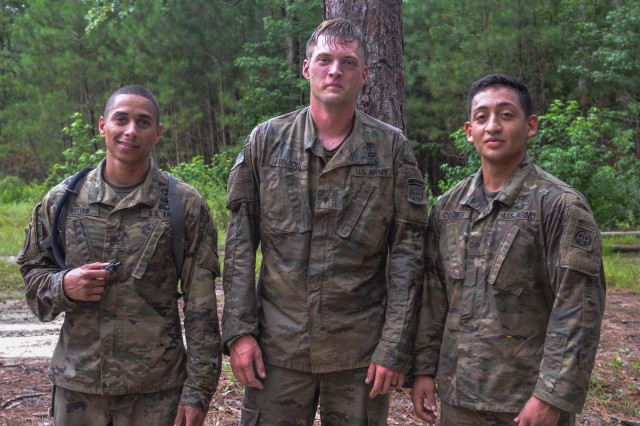Staff Sgt. Miguel Matias of 5th Squadron, 73rd Cavalry Regiment, right, Spc. Aaron Tolson, center and Spc. Edgar Cortes, both of the 1st Battalion, 508th Parachute Infantry Regiment competed in the 82nd Airborne Division Best Medic Competition at Fort Bragg, N.C. from July 25-26, 2018.
