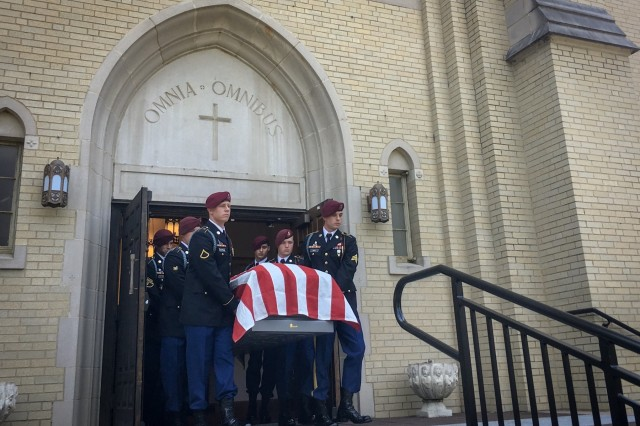The casket of retired 1st Sgt. Harold Eatman is carried by paratroopers of the 2nd Battalion, 505th Parachute Infantry Regiment from the Cathedral of Saint Patrick in Charlotte, North Carolina after his funeral July 11, 2018.  Eatman was a member of the 82nd Airborne Division's 505th PIR and conducted combat jumps into Sicily, Salerno, Normandy and Holland during World War II.