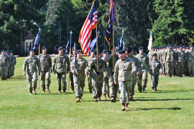 The 1st Battalion, 17th Infantry Regiment conduct a battalion change of command ceremony at Watkins Field at Joint Base Lewis-McChord, Washington, July 26, 2018.
