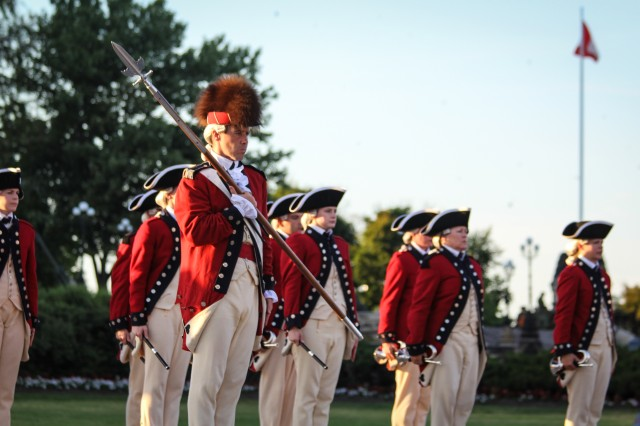 Soldiers with the Fife and Drum Corps, 3d U.S. Infantry Regiment (The Old Guard), perform at the Fortissimo Tattoo 2018, in Ottawa, Canada, July 20, 2018. Fortissimo is a three night military spectacular which has drawn thousands of spectators since it began in 1997. The event also featured performances from Canadian's Massed Pipes and Drums and the Ceremonial Guard. (U.S. Army Photos by Sgt. First Class Kevin Lynch and Staff Sgt. Rachel Minto)